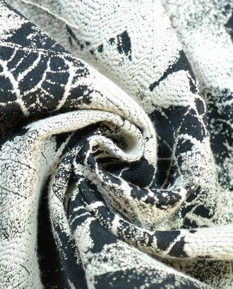 Ткань жаккард черно цвета с цветами молочного цвета арт. ГТ-532-1-ГТ0023102