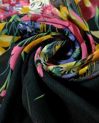 Ткань шифон, цвет: на черном фоне весенняя палитра цветов арт. ГТ-543-1-ГТ0023130
