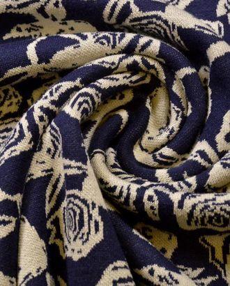 Ткань трикотажная , цвет синий, красивая цветочная раскраска арт. ГТ-546-1-ГТ0023142