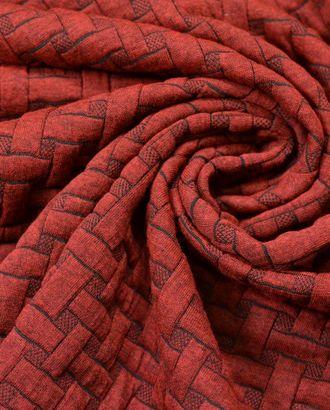 Ткань трикотажная с имитацией плетения, цвет: бургундия арт. ГТ-568-1-ГТ0023185