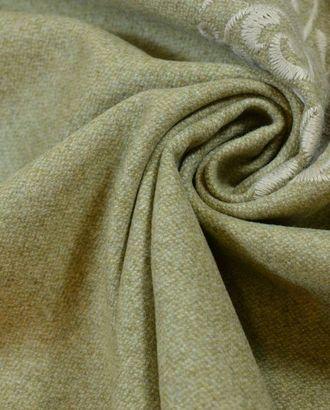 Ткань пальтовая, цвет: серо-бежевый с ажурной вышивкой арт. ГТ-596-1-ГТ0023268