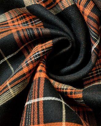 Ткань костюмная двухсторонняя в клетку, цвет: черный и оранжевый арт. ГТ-615-1-ГТ0023510
