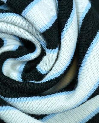 Ткань трикотаж, цвет: бело-черная полоска с голубым вкраплениями арт. ГТ-650-1-ГТ0023851