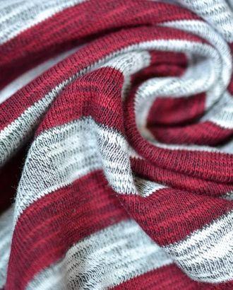 Ткань трикотаж меланжевый белого цвета в широкую бордовую полоску арт. ГТ-655-1-ГТ0023856