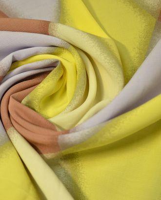 Ткань штапель, ромбы нежно желтого, бежевого, коричневого и серого цветов арт. ГТ-685-1-ГТ0024039