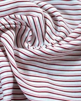 Ткань плательная белого цвета в черную и красную полосы арт. ГТ-708-1-ГТ0024266
