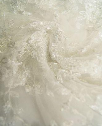 Гипюровая изысканная ткань белоснежного цвета со стеклярусом арт. ГТ-733-1-ГТ0024492
