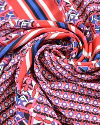 Ткань шелковая, красно-синие и бело-черные арабески арт. ГТ-785-1-ГТ0024953