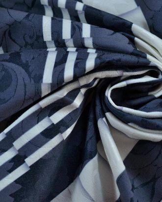 Имитация плиссе на жаккарде серо-голубого цвета с цветами в полоску арт. ГТ-796-1-ГТ0025132
