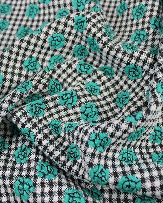 Трикотаж, на фоне черно-белой клетки бирюзовые цветы арт. ГТ-835-1-ГТ0025967