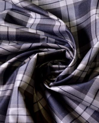 Плащевая ткань, сине-бежевая клетка на сером фоне арт. ГТ-864-1-ГТ0026291