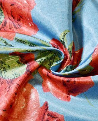 Ткань плащевая, красные розы на ярко-голубом фоне арт. ГТ-867-1-ГТ0026294