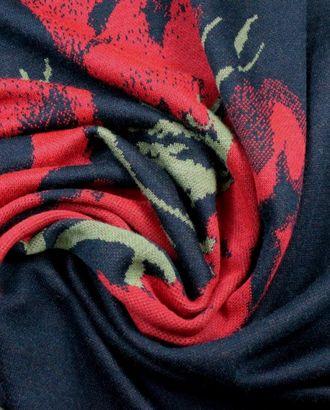 Трикотаж , ярко-красные маки расположенные горизонтально на темно-синем поле арт. ГТ-902-1-ГТ0026781
