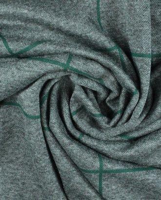 Крупная клетка 10х12 см зеленого цвета на сером фоне трикотажной ткани арт. ГТ-907-1-ГТ0026800