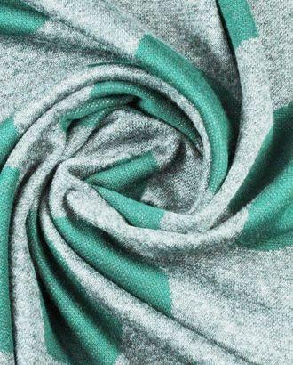Трикотажная ткань, крупный горох темно-зеленого цвета на сером поле арт. ГТ-908-1-ГТ0026801