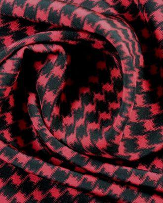Шелковая ткань в гусиную лапку красно-черного цвета арт. ГТ-936-1-ГТ0027327
