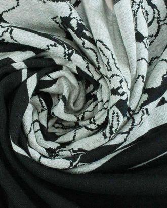 Трикотаж купонный раппорт 0,6м на сером фоне черный цветной узор арт. ГТ-946-1-ГТ0027482