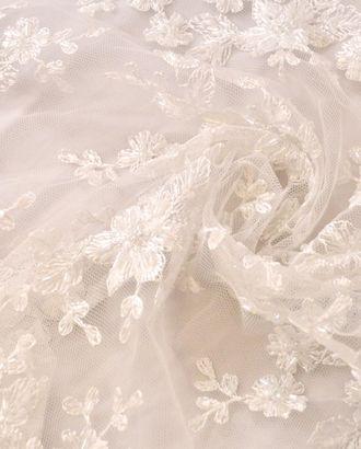 Стеклярус на сетке, цветочный дизайн цвета снежной королевы арт. ГТ-987-1-ГТ0027607