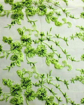 Стеклярус  на сетки с цветочным дизайном цвета молодой  травы арт. ГТ-989-1-ГТ0027611