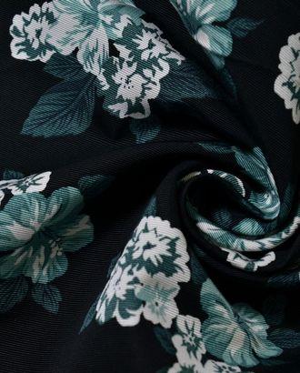 Хлопок черного цвета с изумрудными букетами арт. ГТ-1019-1-ГТ0027904