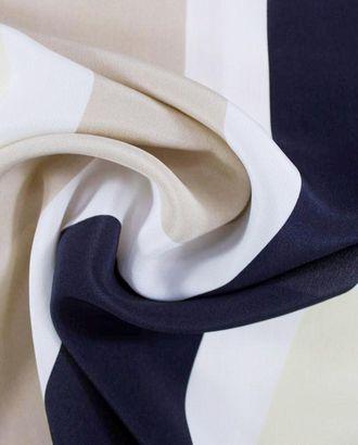 Шелковая ткань в полоску черного, белого, бежевого и песочного цветов арт. ГТ-1061-1-ГТ0028202