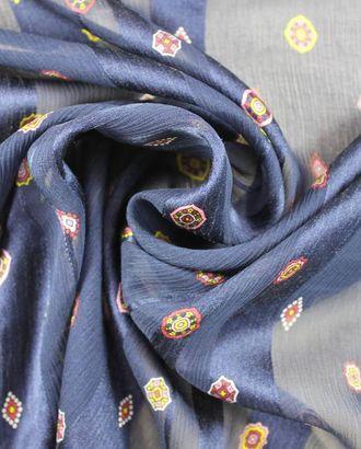 Шелк, цветочный геометрический узор на синем шелке в полоску арт. ГТ-1068-1-ГТ0028213