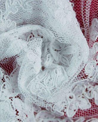 Кружево белого цвета с цветочным узором, фестоны с двух сторон арт. ГТ-1218-1-ГТ0029497