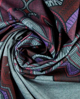 Трикотаж, геометрический узор в красно-фиолетово-серых тонах арт. ГТ-1229-1-ГТ0029512