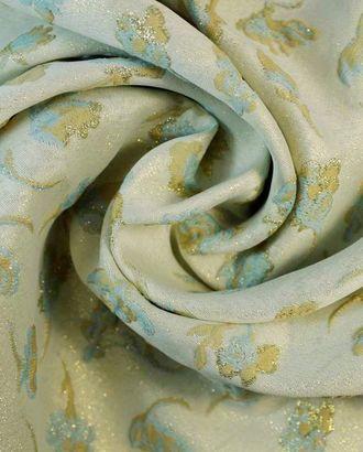 Жаккардовая ткань с золотым люрексом и нежными голубыми цветами арт. ГТ-1268-1-ГТ0030190
