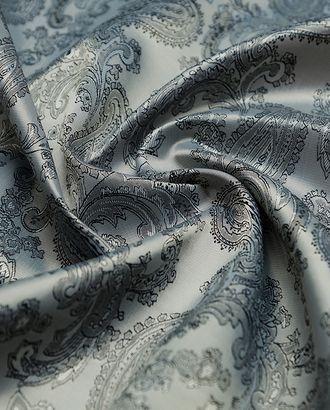 Подкладочная жаккардовая ткань черно-серебристого цвета с огуречным принтом арт. ГТ-4728-1-ГТ-31-6328-8-28-1