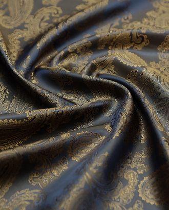 Ткань подкладочная жаккардовая золотисто-синего цвета с огуречным принтом арт. ГТ-4730-1-ГТ-31-6330-8-30-1