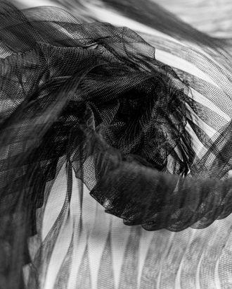 Плиссированный фатин, цвет черный, крупная складка арт. ГТ-4291-1-ГТ-37-5800-1-38-1