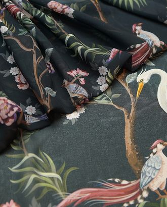 Блузочный шифон с принтом птицы в саду арт. ГТ-4808-1-ГТ-42-6427-2-21-1