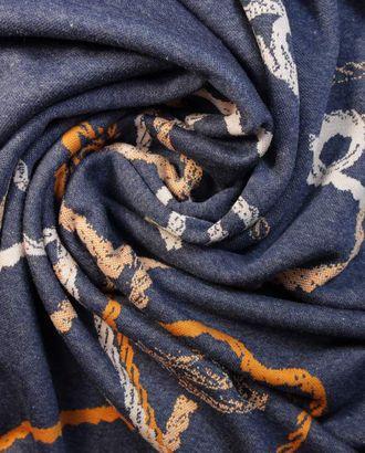 Купонная трикотажная ткань, на серо-синем фоне принт лицо раппорт 1,15м арт. ГТ-1359-1-ГТ0042805