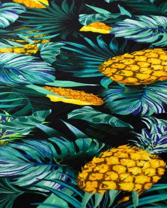 Вискозный штапель, принт ананасы с зелеными листьями арт. ГТ-4515-1-ГТ-43-6019-11-21-1