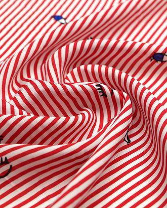 Штапель в красно-белую полоску с принтом арт. ГТ-4570-1-ГТ-43-6110-3-21-1