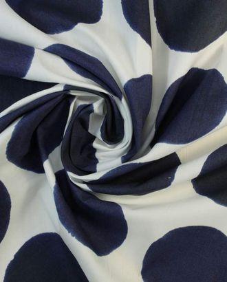 На белоснежном фоне хлопковой ткани крупный темно-синий горох арт. ГТ-1390-1-ГТ0043160