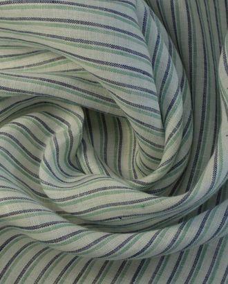 Льняная ткань, сине-зеленые полоски арт. ГТ-1428-1-ГТ0043433