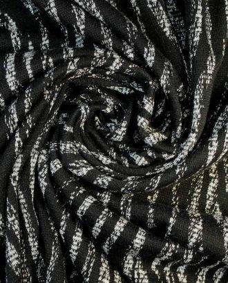 На черном трикотаже серый орнамент с люрексом арт. ГТ-1468-1-ГТ0043605