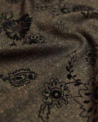 Ткань костюмная меланжево-коричневого цвета с бархатным цветочным узором арт. ГТ-2507-1-ГТ0047246