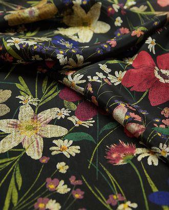 Шелк блузочно-плательный, с цветочным рисунком на черном фоне арт. ГТ-2525-1-ГТ0047293