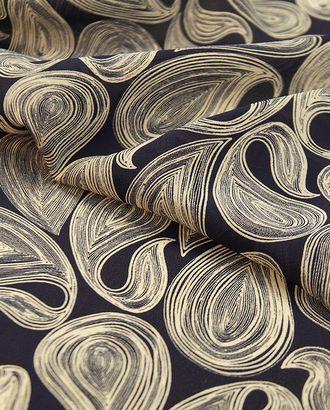 Креп блузочно-плательный с рисунком стилизованные огурцы на синем фоне арт. ГТ-2536-1-ГТ0047309