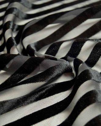 Бархатные полоски на сетке, цвет черный принц арт. ГТ-2594-1-ГТ0047372