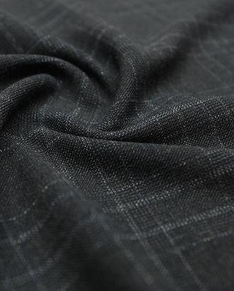 Костюмная ткань, на черном меланжевом фоне тонкая белая клетка (150г/м2) арт. ГТ-2688-1-ГТ0047476