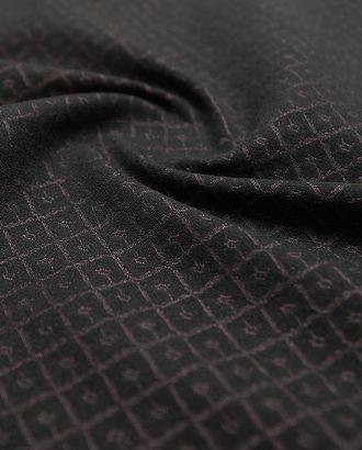 Изысканный 2х сторонний жаккард, на черном фоне лиловый орнамент  (280г/м2) арт. ГТ-2689-1-ГТ0047477
