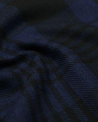 Черная шерстяная пальтовая ткань в синюю клетку арт. ГТ-2715-1-ГТ0047508