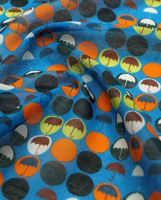 Нежный батист с принтом зонтики на синем фоне арт. ГТ-2855-1-ГТ0047724