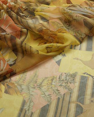 Нежный шифон с растительным принтом на бежево-желтом фоне арт. ГТ-2867-1-ГТ0047736