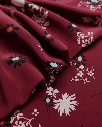 Блузочно-плательный шелк с цветочным принтом на бордовом фоне арт. ГТ-2876-1-ГТ0047745