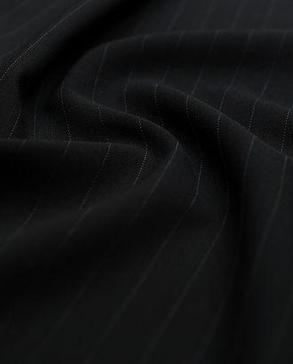 Шерстяная костюмная ткань черного цвета в тонкую полоску арт. ГТ-2891-1-ГТ0047769